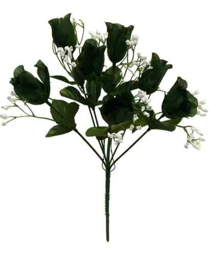 7 Buds Roses GREEN Wedding Bouquet Silk Flowers Bridal Centerpieces Home Decor