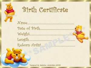 Winnie the pooh birth certificate certificates 4 reborn for Novelty birth certificate template