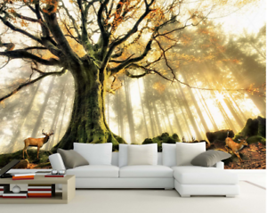 3D Großer Baum Wald Hirsche 85 Tapete Wandgemälde Tapete Tapeten Bild Familie DE