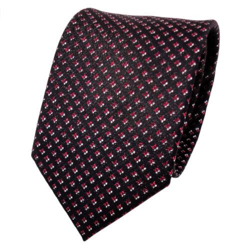 TigerTie Lurex Seidenkrawatte rot silber schwarz gepunktet Krawatte Seide
