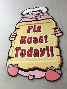 TWO-SAME-SIZE-PIG-ROAST-TODAY-VERT-PIG-ASSORTED-DIECUT-CORRUGATED-PLASTIC-SIGNS