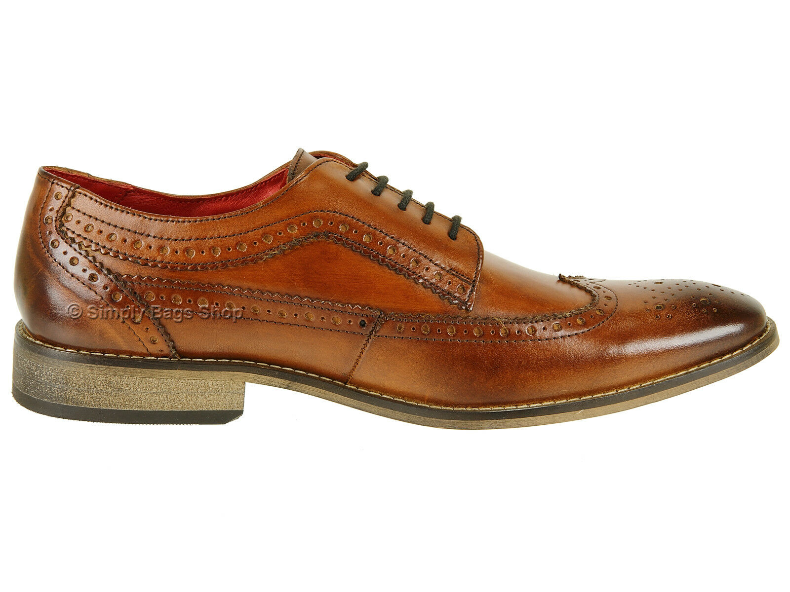 Base London Mens Washed Vintage Look Leather Brogue Office Lace Up Smart Shoes