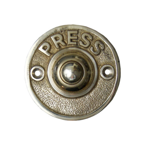 Vintage Door Bell Push Button /'Press/' Round Aged Brass 60mm Diameter