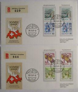 Suiza-Franquicia-2-Briefe1987-Fosforescentes-y-Fluorescente-71586