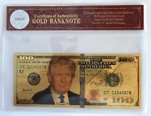 President-Donald-Trump-100-Dollar-Bill-24K-Gold-3D-Overlay-With-COA