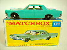 "Matchbox RW 31C Lincoln Continel türkis in später ""F"" Box top"