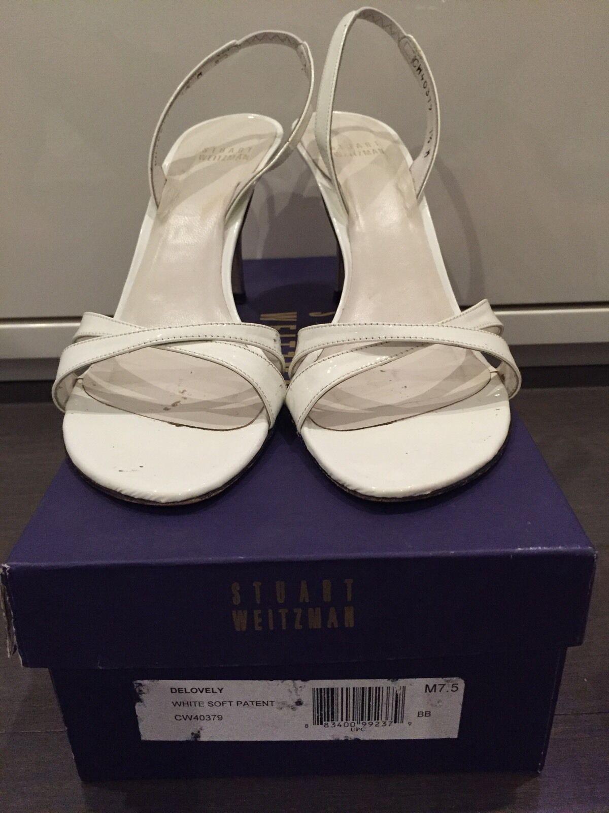 Stuart Delovely Weitzman Delovely Stuart Soft White Patent Size 7.5 Women's Heels f064ca