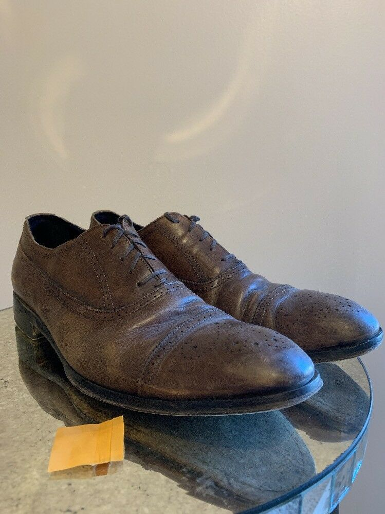 M. GEMI braun Leather Lace Up schuhe Men Größe 44.11D Made in ITALY lace up