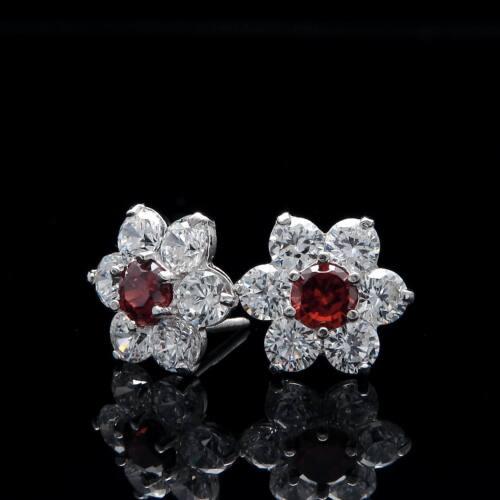1.50ct Brilliant Cluster Earrings 14K Gold Garnet Red /& White Studs Screwback