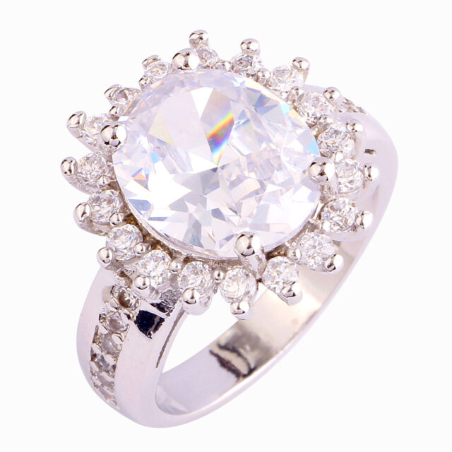 Gorgeous Gift Rainbow & White & Pink Topaz Gemstone Silver Ring Size 6 7 8 9 10