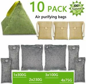SEALED IN BAG BREATHE GREEN BAMBOO CHARCOAL AIR PURIFYING BAGS 4 PACK 200g X 4