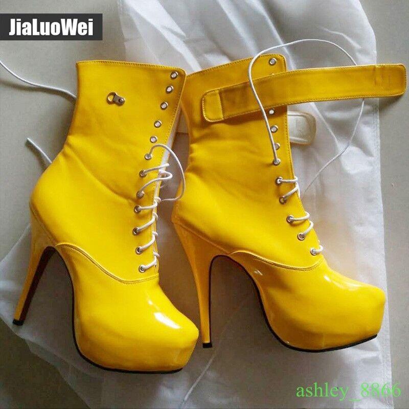 Mostrar Unisex Plataforma De Tacón Alto botas de con cordones punta rojoonda Punk de botas Cuero botas 2019 aeee9d