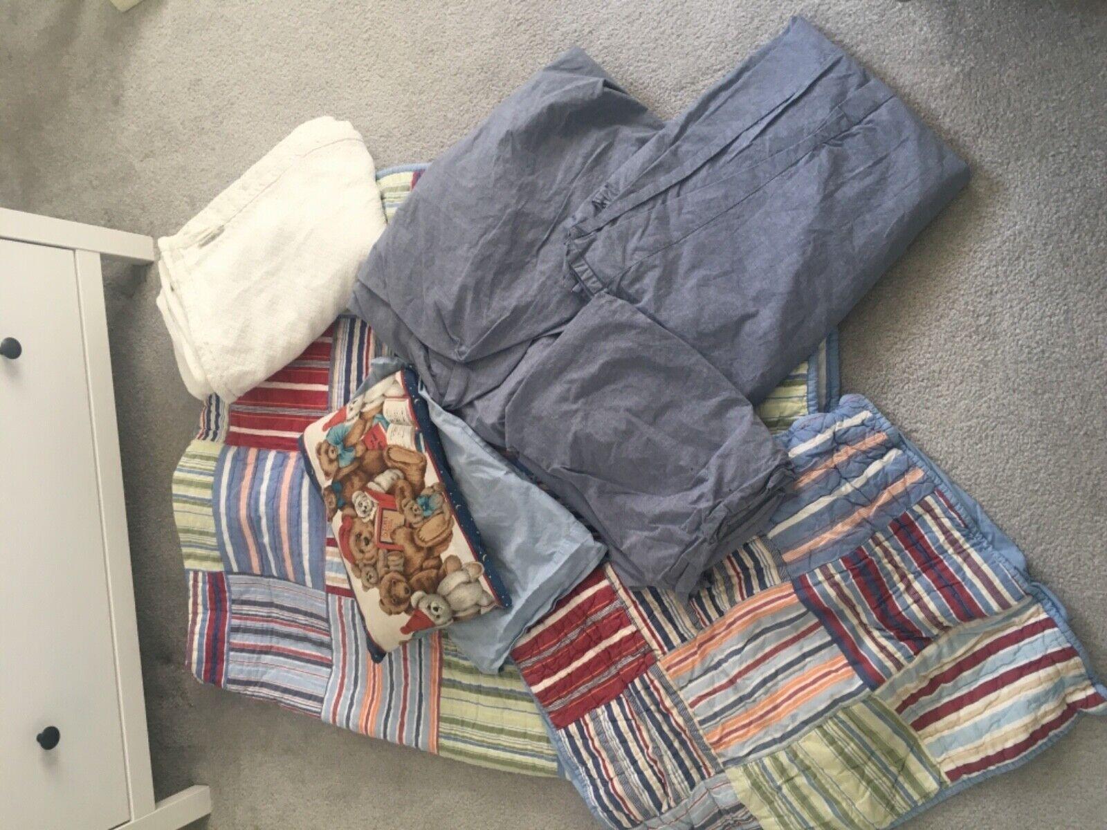 Pottery Barn Kids PBK 4 pc Boys Madras bluee Twin Quilt Sham Blanket Sheet Set