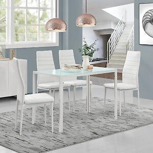 en.casa] Mesa de comedor mit 4 Sillas blanco cocina Cristal   eBay