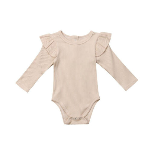 US Newborn Baby Girl Ruffle Long Sleeve Romper Jumpsuit Bodysuit Outfits Clothes