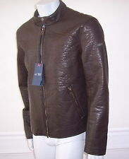 New ARMANI JEANS Signature Faux Leather Jacket XL Slim