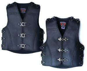 MENS-MOTORCYCLE-HEAVY-DUTY-CLUB-BUCKLE-VEST-3MM-THICK-COWHIDE-LEATHER-BRAIDED