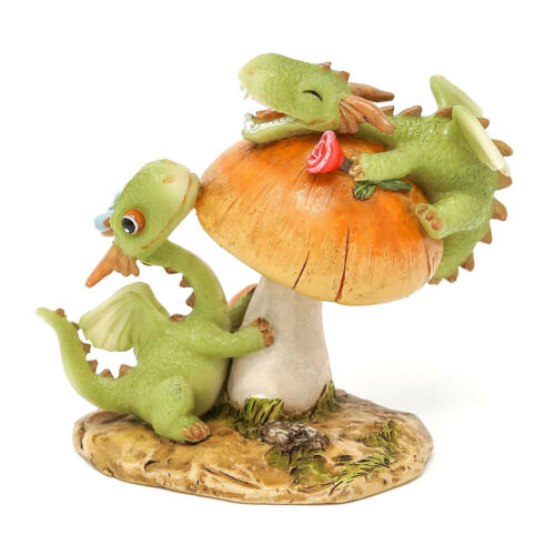 Miniature FAIRY GARDEN Mini Dragon Scaley And Dragon Emberz Playing on Mushroom