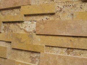 Wand-Verkleidung-Verblender-Klinker-Stein-Travertin-Muro-Gold-Muster-Wohnrausch