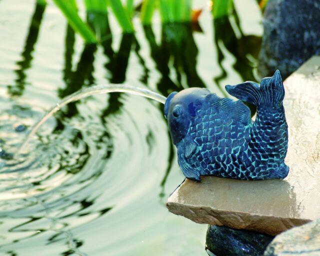 Wasserspeier Fisch Teichfigur Teich Garten Figur Springbrunnen Dekoration NEU