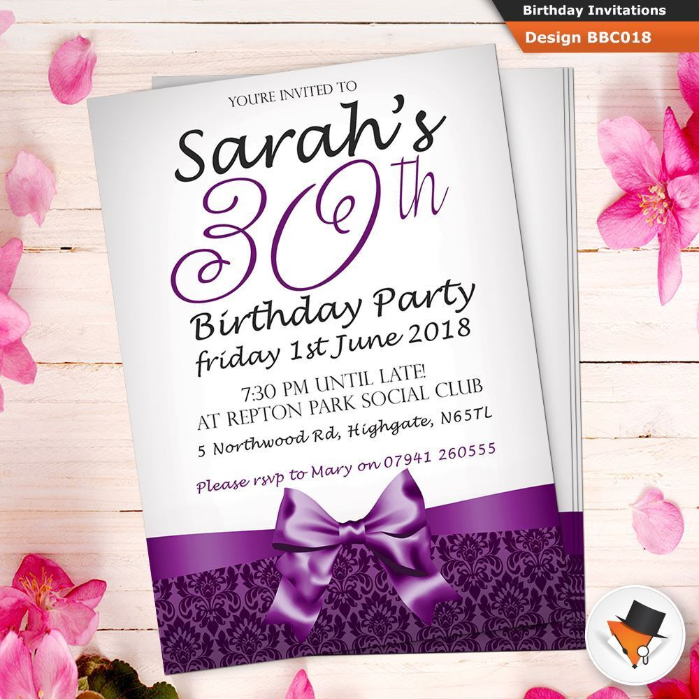 Personalised Birthday Invitations Invites 40th Envs 18th 21st 30th