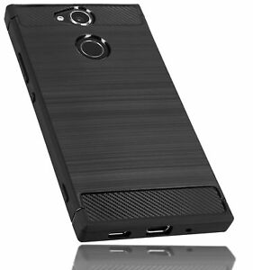 mumbi-Huelle-f-Sony-Xperia-XA2-Schutzhuelle-Case-Carbon-Optik-Schutz-Schwarz