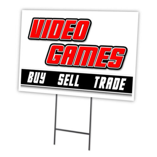 "VIDEO GAMES 18/""x24/"" Yard Sign /& Stake outdoor plastic coroplast window"