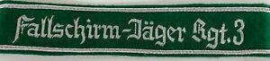 WWII GERMAN Fallschirm-Jäger Rgt 3 Cuff Title