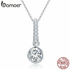 BAMOER-Radiant-Elegance-S925-Sterling-silver-Necklace-amp-CZ-Pandent-For-Jewelry