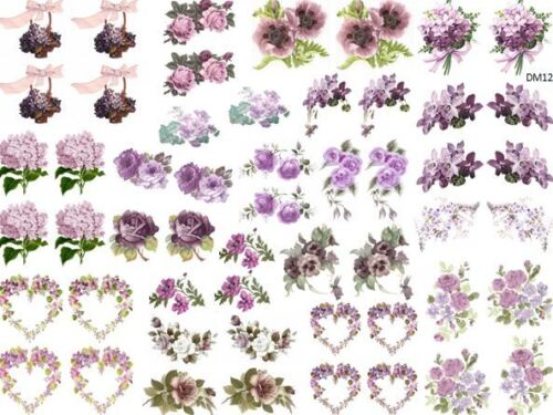 DoLLHouSe MiNiaTureS PurPLe FLoWeRs ShaBby WaTerSLiDe DeCALs Découpage DM12