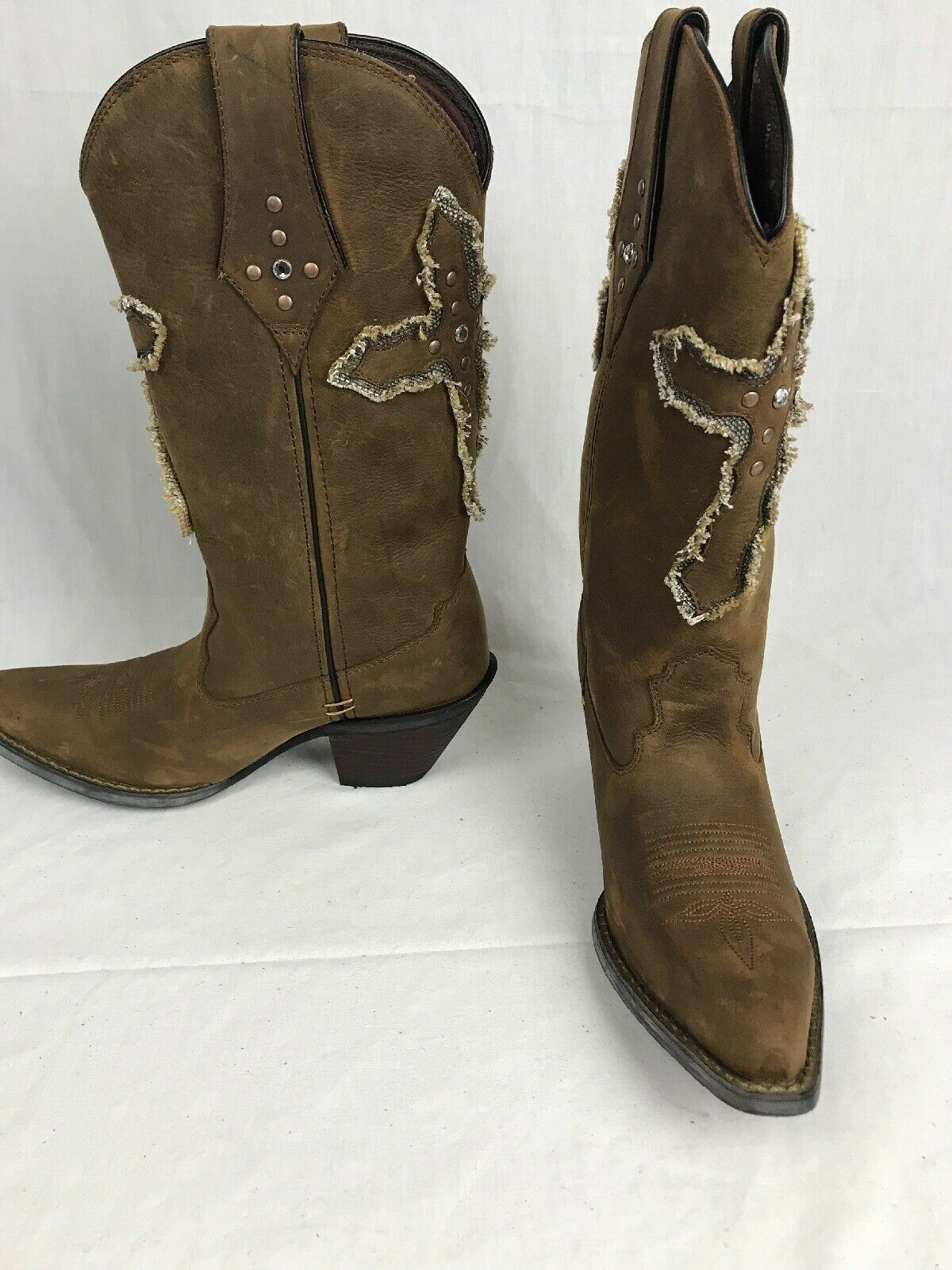 Durango DRD0067 Crush Brown  12   Brown Leather w Cross Western Cowgirl Boots 8M