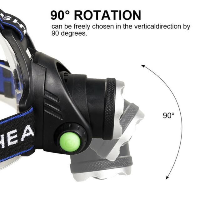 BORUiT Hunting HEADLIGHT 15500 Lumen CREE LED HEADLAMP 2X 18650 Battery Charger