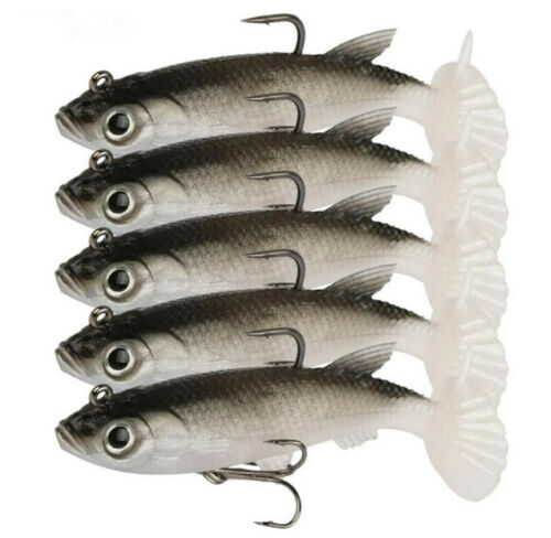5PSC Soft Lure 3.35in//13g Silicone Fishing Lures Sea Bass Carp Fishing Wobbler