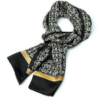 Luxurious Gift! Mens 100% Silk Long Scarf/Cravat Double Layer New Arrival