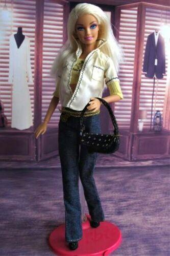 New Handmade For Barbie Clothes Yellow Shirt Jacket Belt Jeans Belt Purse Shoes