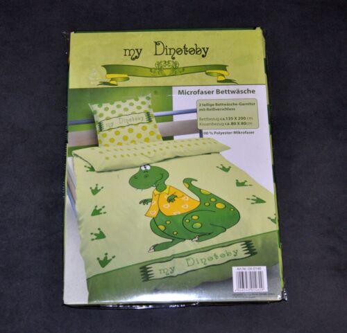 Microfaser Bettwäsche  135x200 Kinderbettwäsche  DINO  NEU