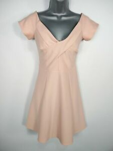 WOMENS-RIVER-ISLAND-PINK-CROSSOVER-FIT-amp-FLARE-OCCASION-WEDDING-PROM-DRESS-UK-12