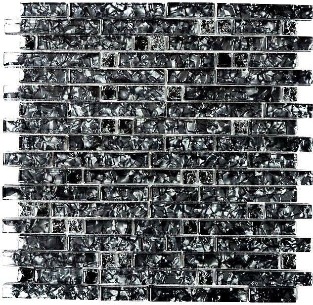 Glasmosaik schwarz mix Wand Küche Bad WC Fliesenspiegel Art:WB87-MV718| 1 Matte