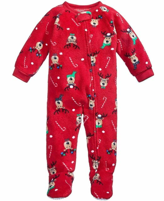 03d494de724f Family PJs Baby Boys or Girls 1-pc Reindeer Footed Pajamas Red 18 ...