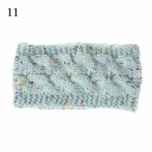 Women Knit Headband Winter Woolen Yarn Flower Line Mixed Warm Stretch Hair Wraps