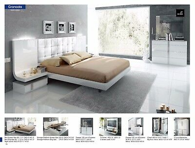 ESF Granada Modern White Gloss Finish King Size Bedroom Set Made in Spain 5  Pcs | eBay