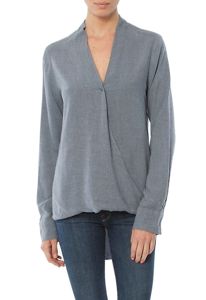 NEW CLOTH & STONE damen SzS DRAPED FRONT LONG SLEEVE TOP BLOUSE IN CHARCOAL