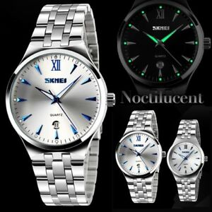 Waterproof-Fashion-Men-039-s-Stainless-Steel-Quartz-Analog-Date-Sport-Wrist-Watch