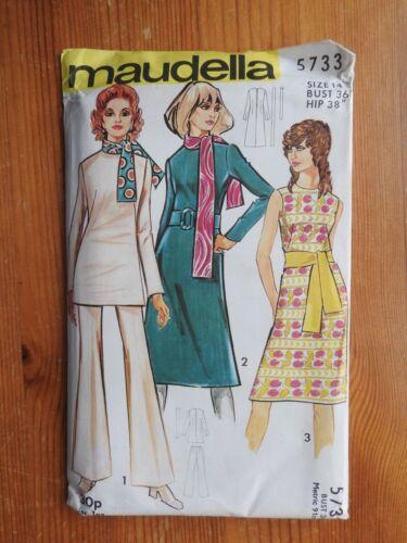 Maudella patrón de costura Vintage 5733 Vestido Y Traje De Pantalón nueva sin cortar 1970s