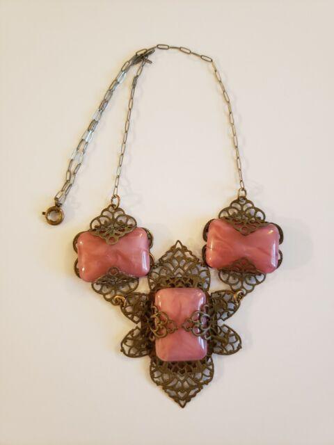 Art Deco Filigree Czech Glass Lavaliere Necklace