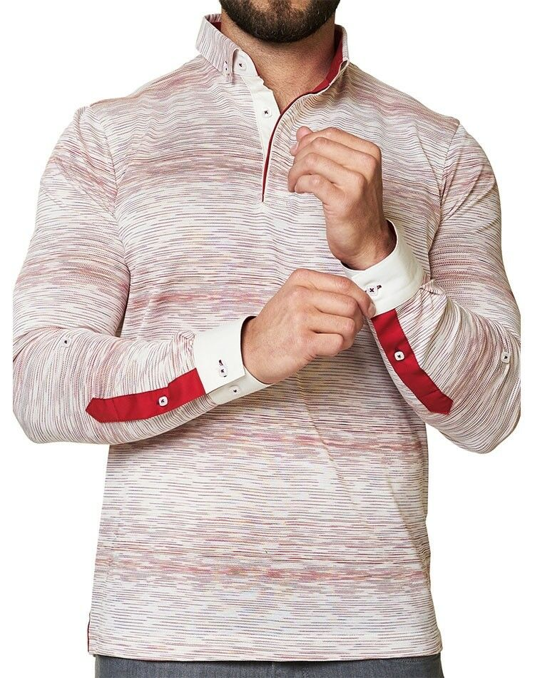 MACEOO ROT AND Weiß REVERSIBLE POLO SHIRT Größe:M