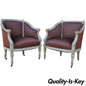 Pair Of French Louis Xvi Style Petite Cream Painted Chairs Bergere