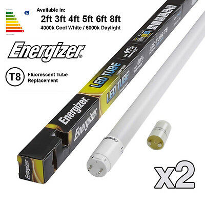 2x ENERGIZER HighTech T8 Led Tube - Fluorescent Replacement 2ft 3ft 4ft 5ft 6ft