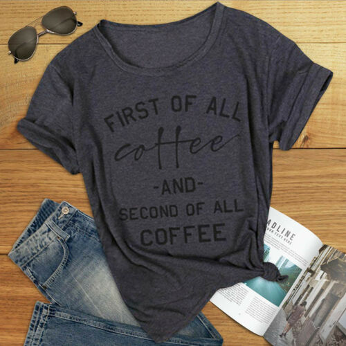 Unisex First of All Coffee Print V neck T shirt Short Sleeve Tee Shirt