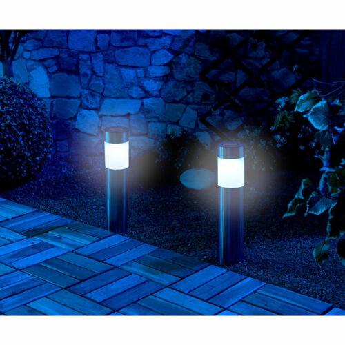 Lunartec 2er-Set elegante Solar-LED-Wegeleuchten aus Edelstahl mit Lichtsensor